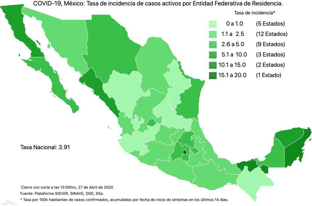 #COVID19 en México, casos activos, positivos, negativos, sospechosos, defunciones y tasa de incidencia por estado al 27 de abril 2020 4