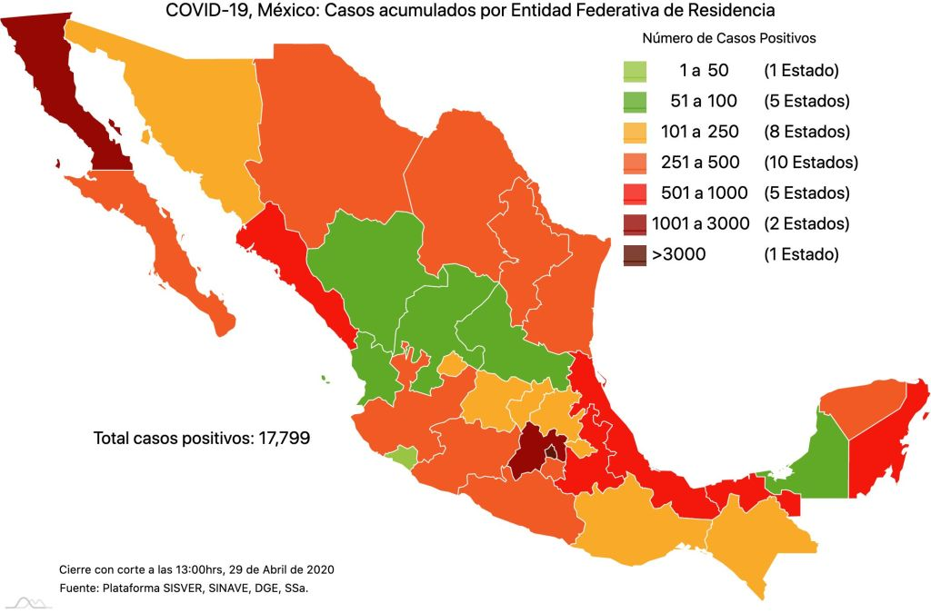 #COVID19 en México, casos activos, positivos, negativos, sospechosos, defunciones y tasa de incidencia por estado al 29 de abril 2020 2