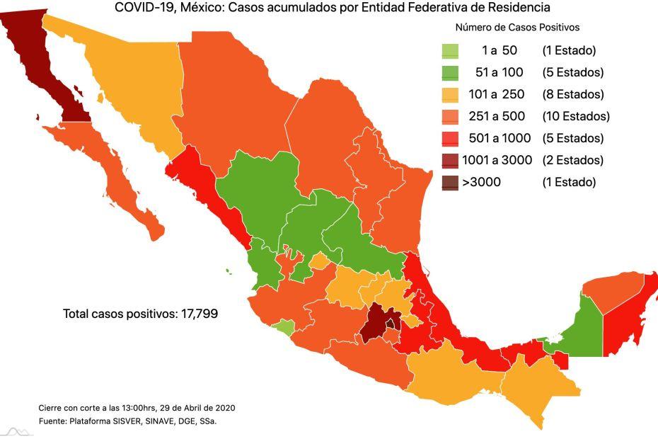 #COVID19 en México, casos activos, positivos, negativos, sospechosos, defunciones y tasa de incidencia por estado al 29 de abril 2020 1