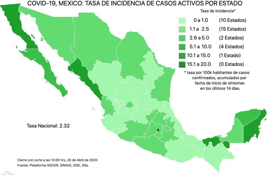 #COVID19 en México, casos activos, positivos, negativos, sospechosos y defunciones por estado al 21 de abril 2020 3