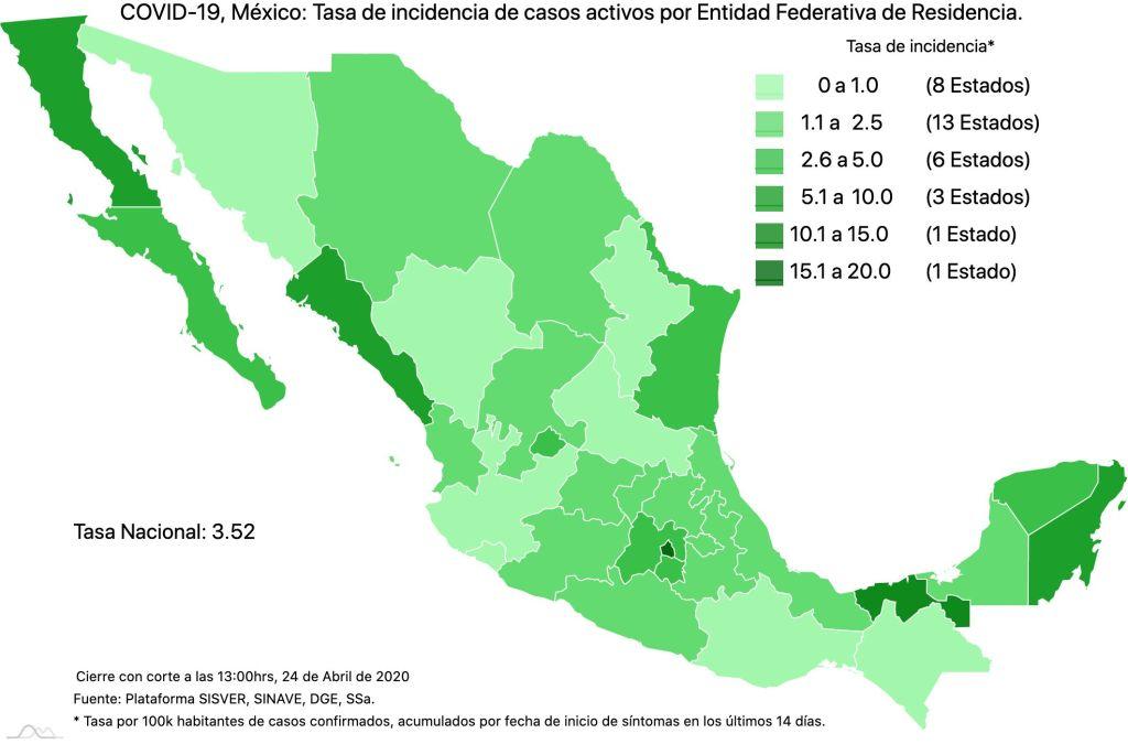 #COVID19 en México, casos activos, positivos, negativos, sospechosos, defunciones y tasa de incidencia por estado al 24 de abril 2020 4