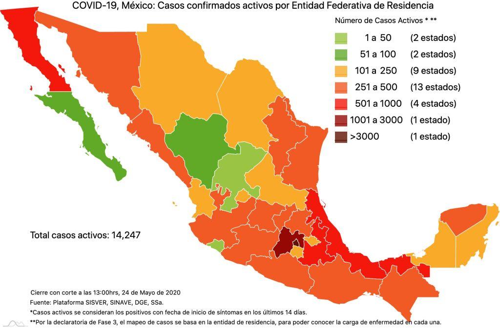 #COVID19 en México 24 de mayo 2020, casos defunciones, activos y tasa de incidencia nacional y por estado 3