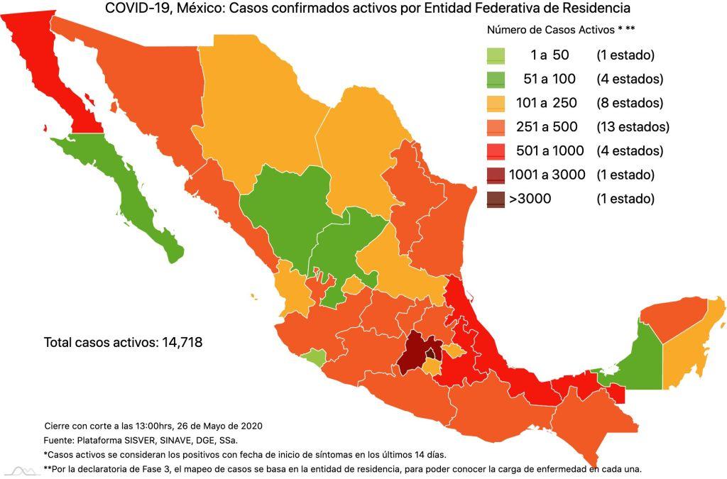 #COVID19 en México 26 de mayo 2020, casos defunciones, activos y tasa de incidencia nacional y por estado 2