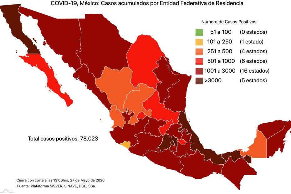 #COVID19 en México 27 de mayo 2020, casos defunciones, activos y tasa de incidencia nacional y por estado 8