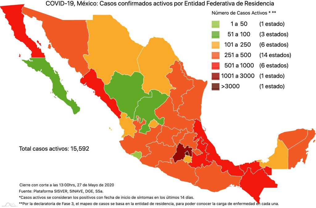 #COVID19 en México 27 de mayo 2020, casos defunciones, activos y tasa de incidencia nacional y por estado 2