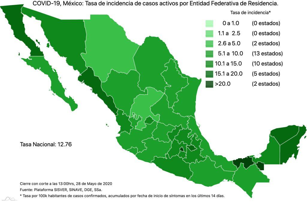 #COVID19 en México 28 de mayo 2020, casos defunciones, activos y tasa de incidencia nacional y por estado 3