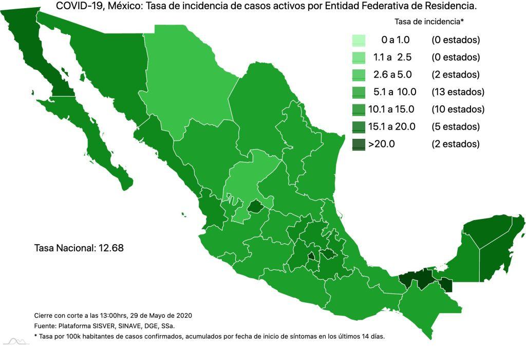 #COVID19 en México 29 de mayo 2020, casos defunciones, activos y tasa de incidencia nacional y por estado 3