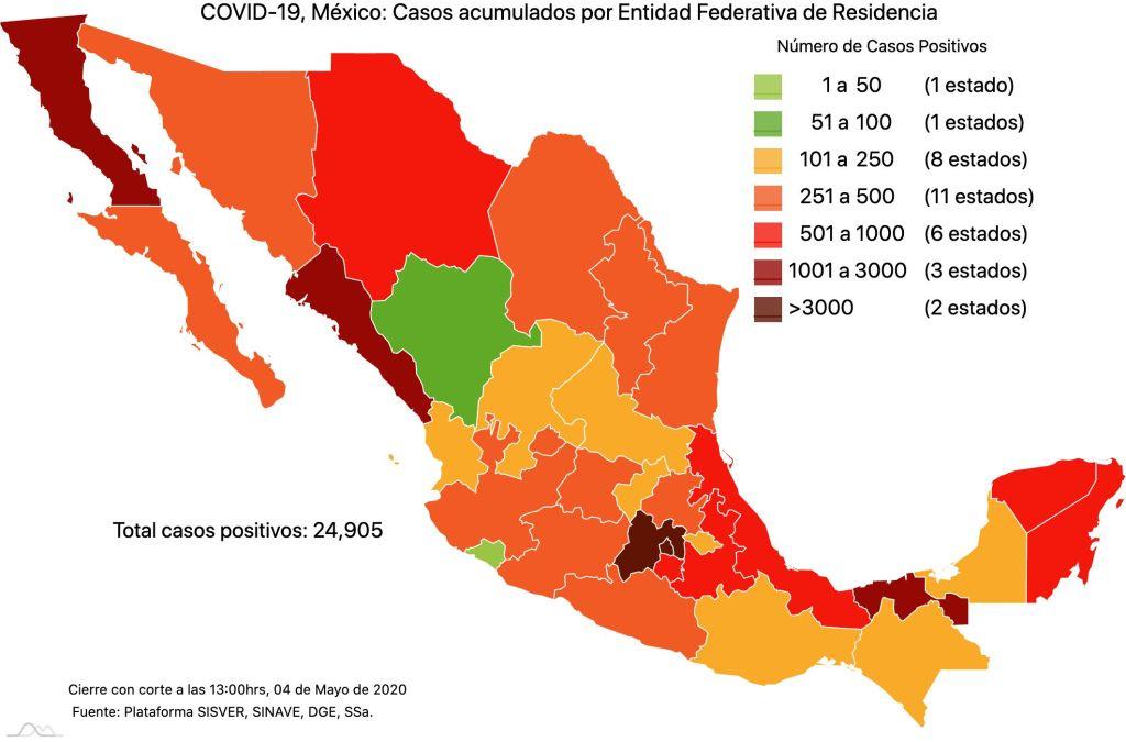#COVID19 en México 4 de mayo 2020, casos defunciones y tasa de incidencia nacional y por estado 2
