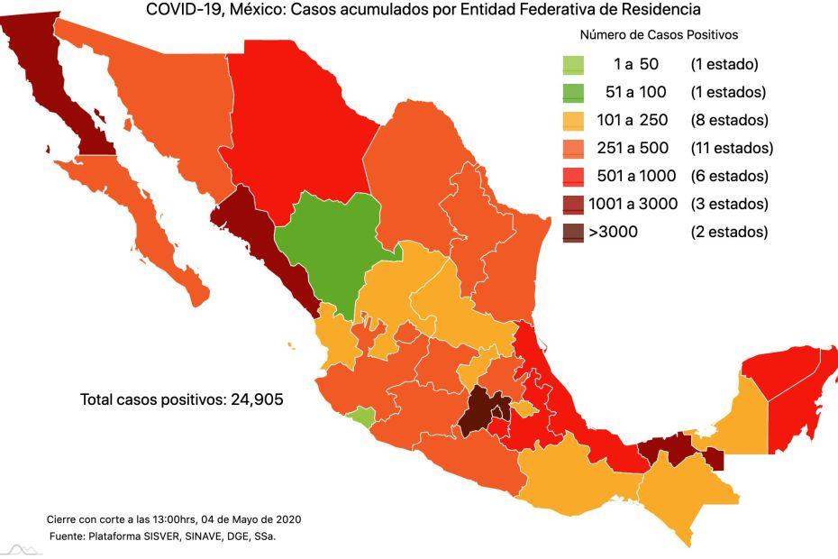 #COVID19 en México 4 de mayo 2020, casos defunciones y tasa de incidencia nacional y por estado 1