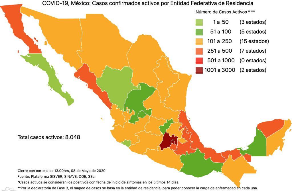 #COVID19 en México 8 de mayo 2020, casos defunciones y tasa de incidencia nacional y por estado 3