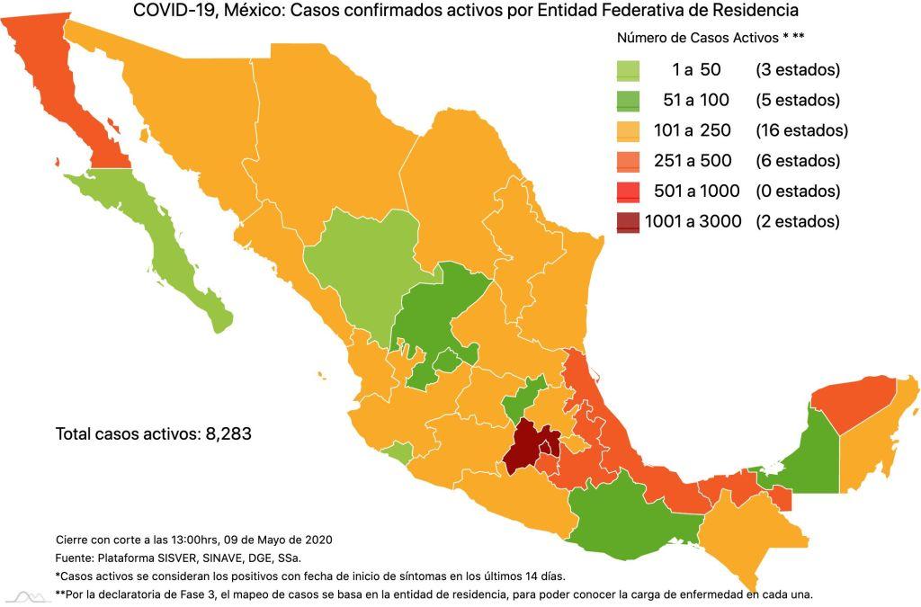 #COVID19 en México 9 de mayo 2020, casos defunciones y tasa de incidencia nacional y por estado 3