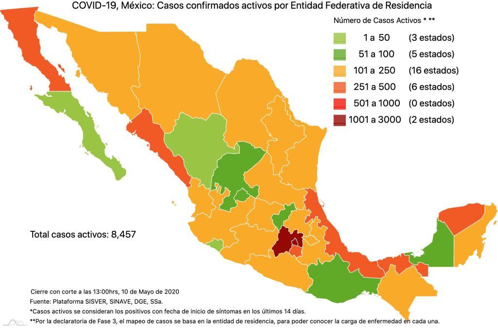 #COVID19 en México 10 de mayo 2020, casos defunciones y tasa de incidencia nacional y por estado 3