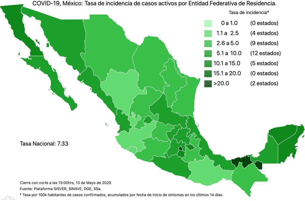#COVID19 en México 13 de mayo 2020, casos defunciones y tasa de incidencia nacional y por estado 6