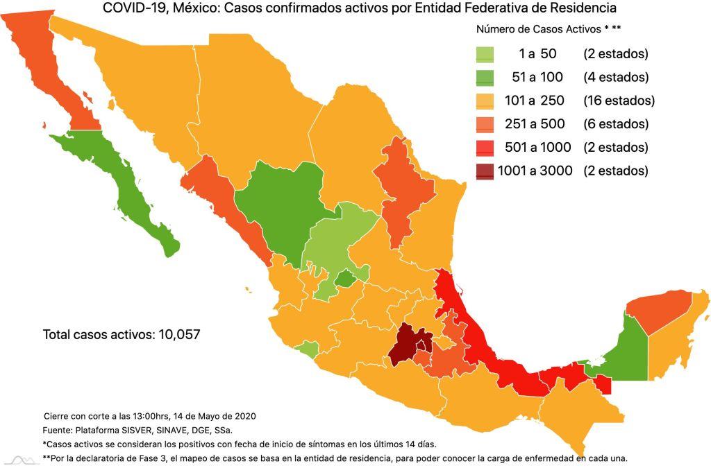 #COVID19 en México 14 de mayo 2020, casos defunciones y tasa de incidencia nacional y por estado 3