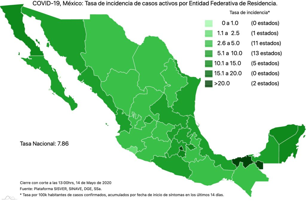 #COVID19 en México 14 de mayo 2020, casos defunciones y tasa de incidencia nacional y por estado 4