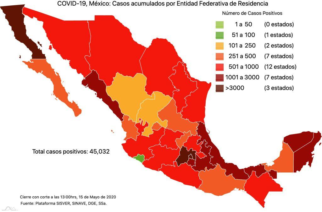 #COVID19 en México 15 de mayo 2020, casos defunciones y tasa de incidencia nacional y por estado 2