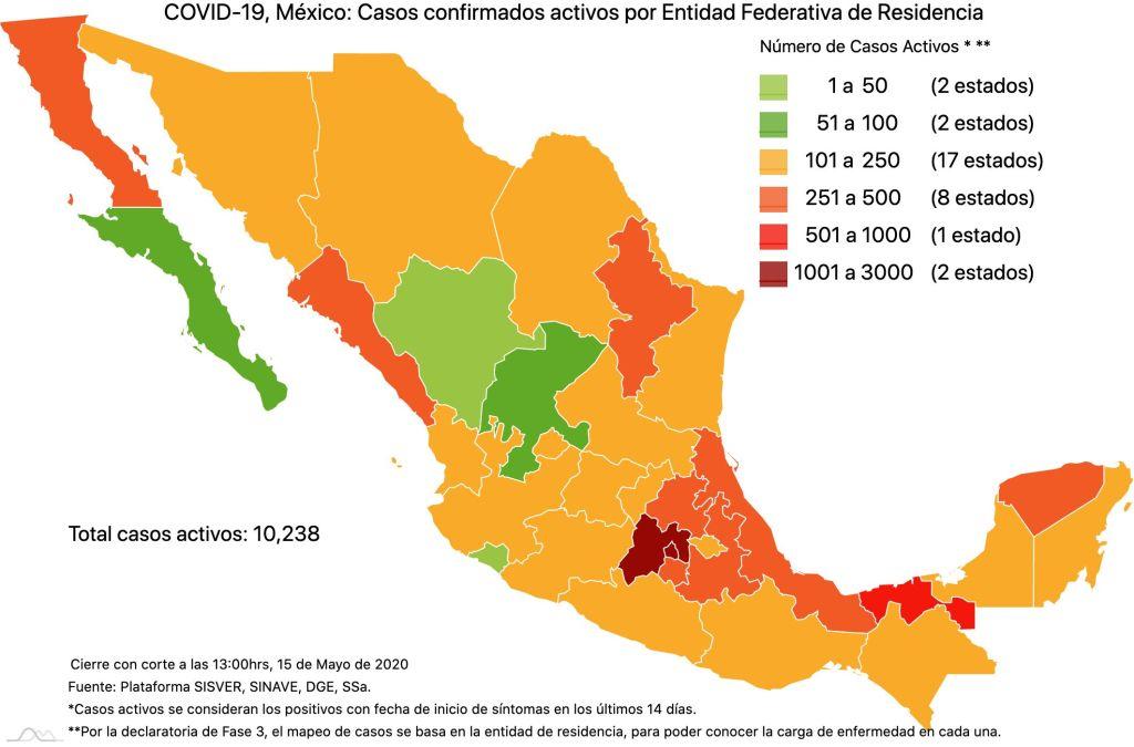 #COVID19 en México 15 de mayo 2020, casos defunciones y tasa de incidencia nacional y por estado 3