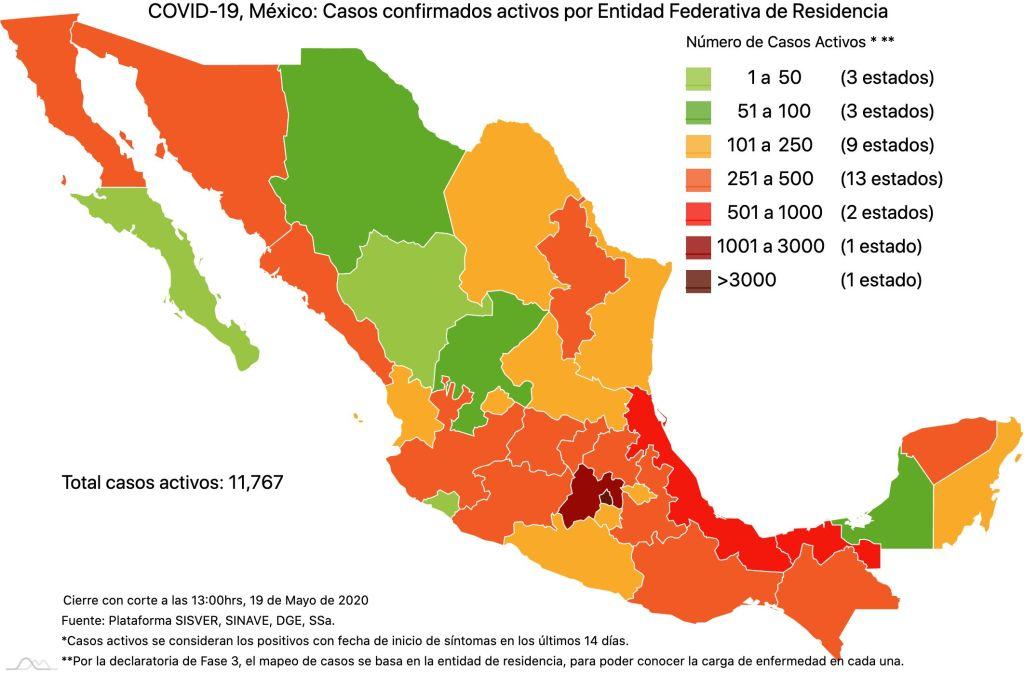 #COVID19 en México 19 de mayo 2020, casos defunciones, activos y tasa de incidencia nacional y por estado 3