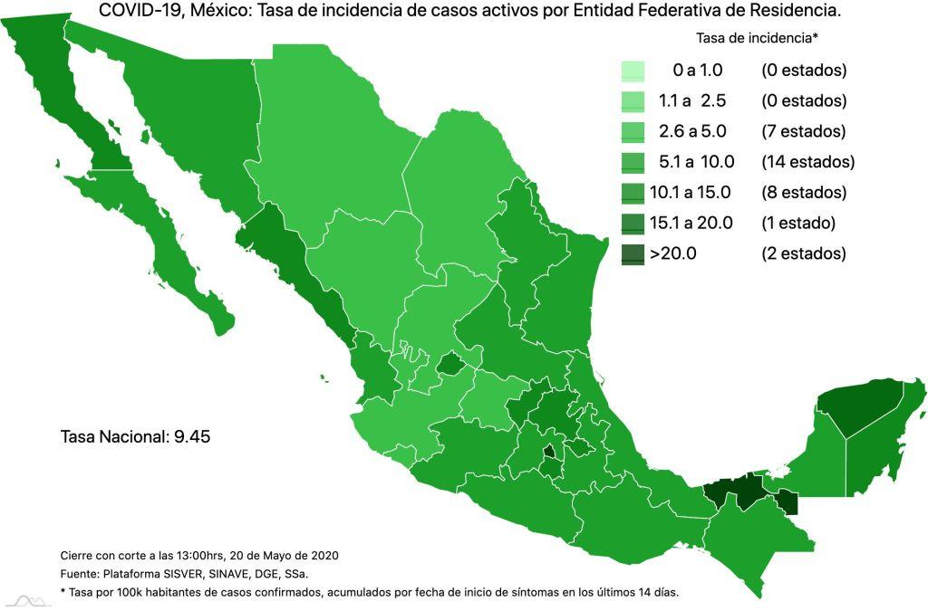 #COVID19 en México 20 de mayo 2020, casos defunciones, activos y tasa de incidencia nacional y por estado 4