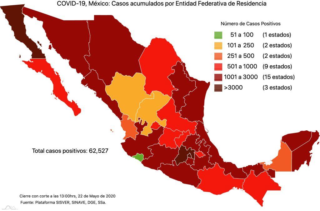 #COVID19 en México 22 de mayo 2020, casos defunciones, activos y tasa de incidencia nacional y por estado 2