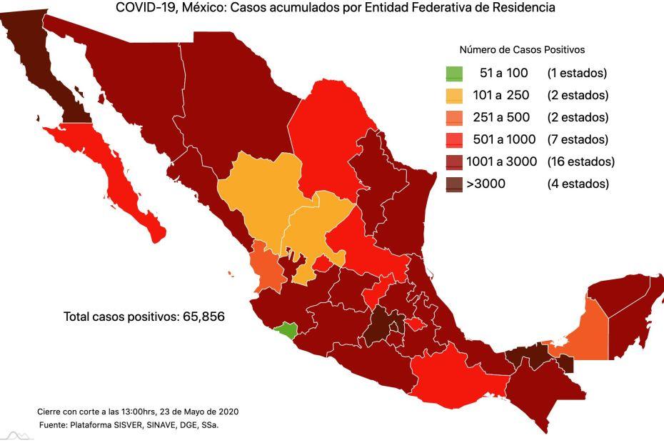 #COVID19 en México 23 de mayo 2020, casos defunciones, activos y tasa de incidencia nacional y por estado 1