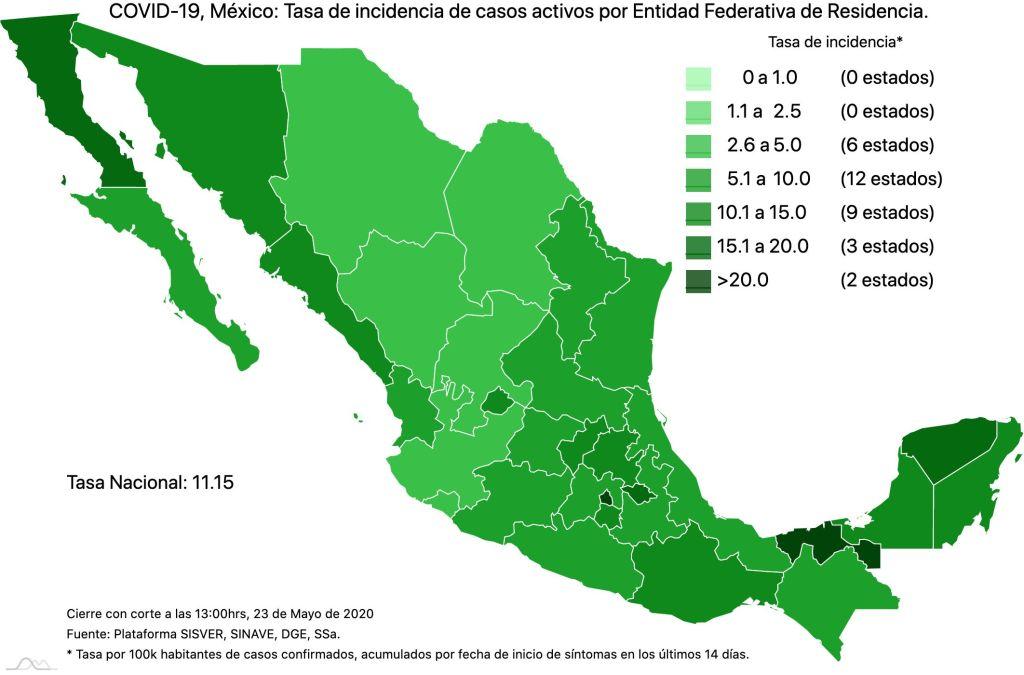 #COVID19 en México 23 de mayo 2020, casos defunciones, activos y tasa de incidencia nacional y por estado 4