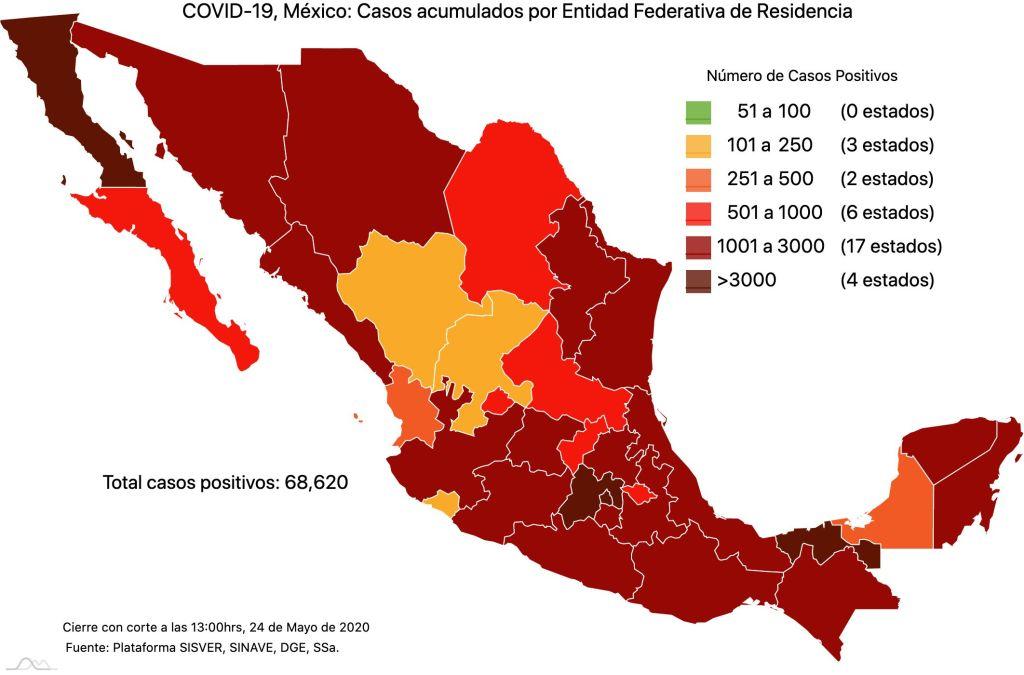 #COVID19 en México 24 de mayo 2020, casos defunciones, activos y tasa de incidencia nacional y por estado 2