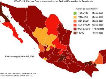 #COVID19 en México 24 de mayo 2020, casos defunciones, activos y tasa de incidencia nacional y por estado 9
