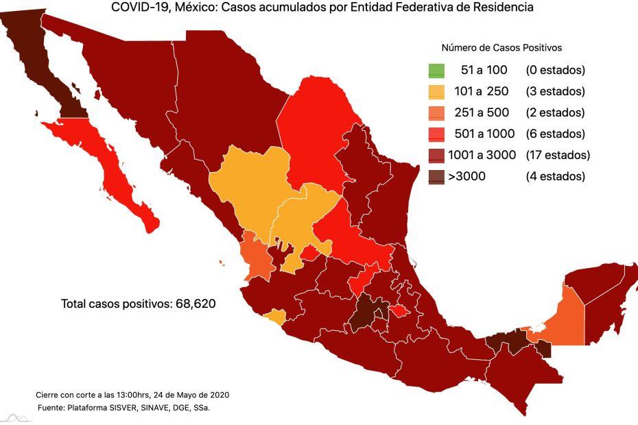 #COVID19 en México 24 de mayo 2020, casos defunciones, activos y tasa de incidencia nacional y por estado 1