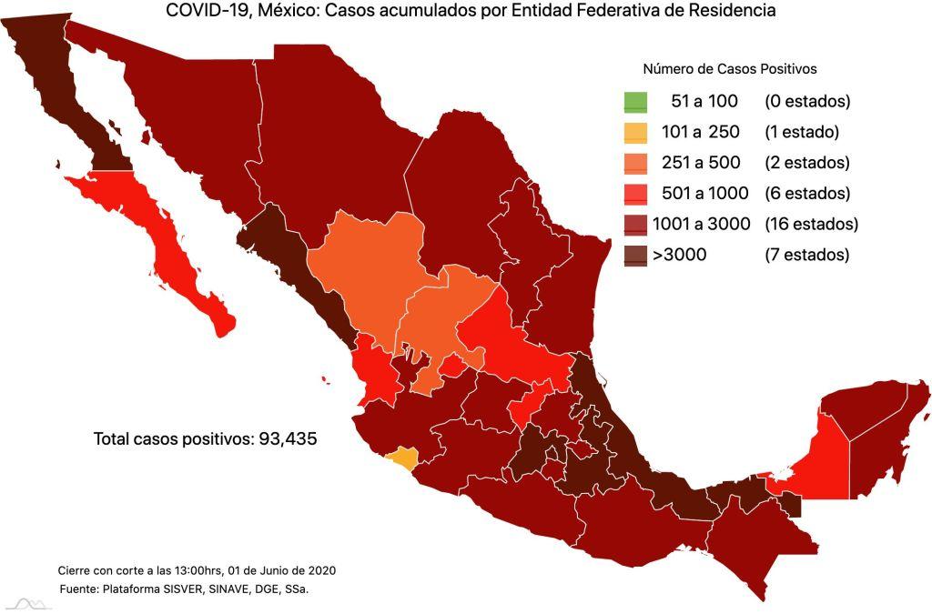 #COVID19 en México 1 de junio 2020, casos defunciones, activos y tasa de incidencia nacional y por estado 2