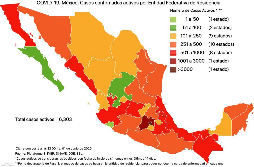 #COVID19 en México 1 de junio 2020, casos defunciones, activos y tasa de incidencia nacional y por estado 3
