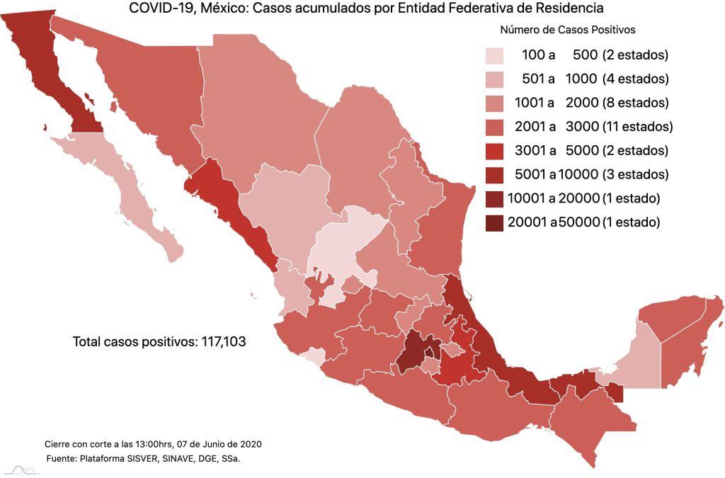 #COVID19 en México 7 de junio 2020, casos defunciones, activos y tasa de incidencia nacional y por estado 1