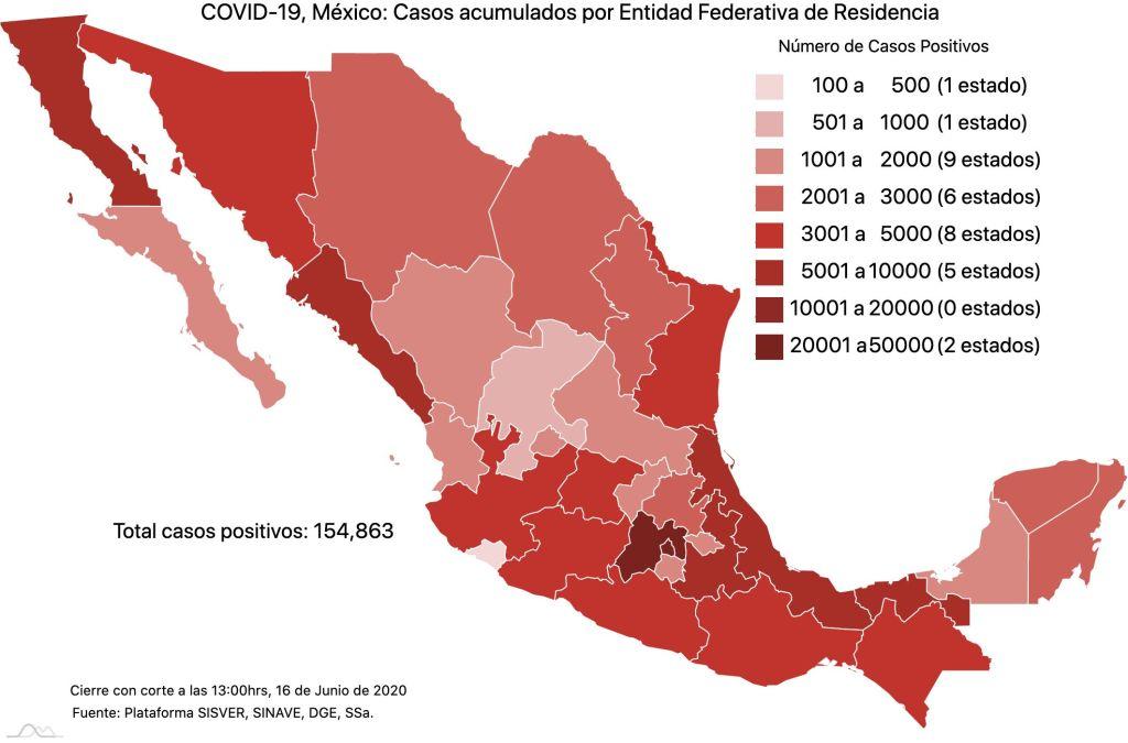 COVID19 en México 16 de junio 2020, casos defunciones, activos y tasa de incidencia nacional y por estado 2