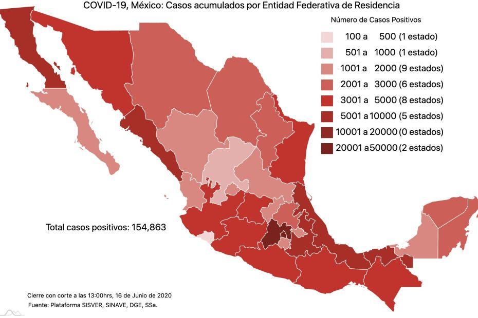 COVID19 en México 16 de junio 2020, casos defunciones, activos y tasa de incidencia nacional y por estado 1