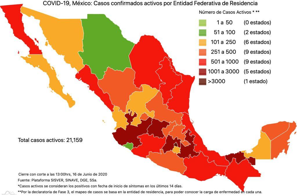 COVID19 en México 16 de junio 2020, casos defunciones, activos y tasa de incidencia nacional y por estado 3