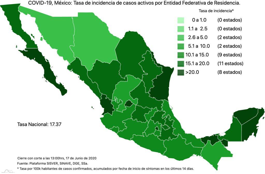 COVID19 en México 17 de junio 2020, casos defunciones, activos y tasa de incidencia nacional y por estado 3