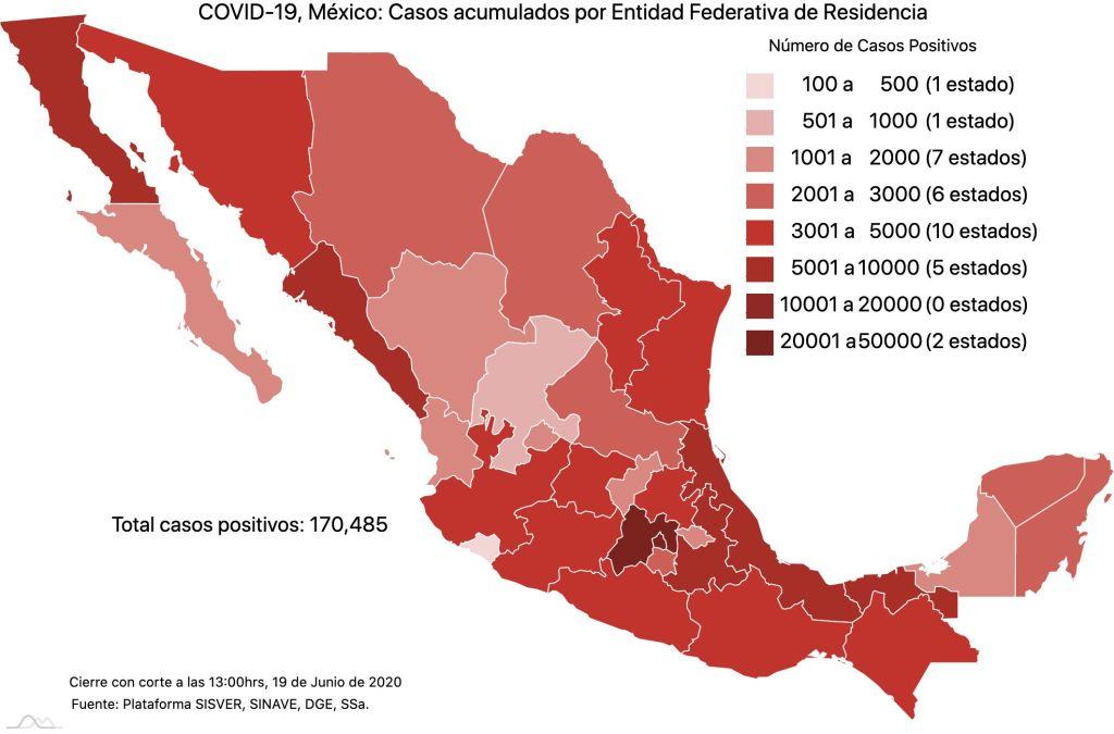 COVID19 en México 19 de junio 2020, casos defunciones, activos y tasa de incidencia nacional y por estado 4