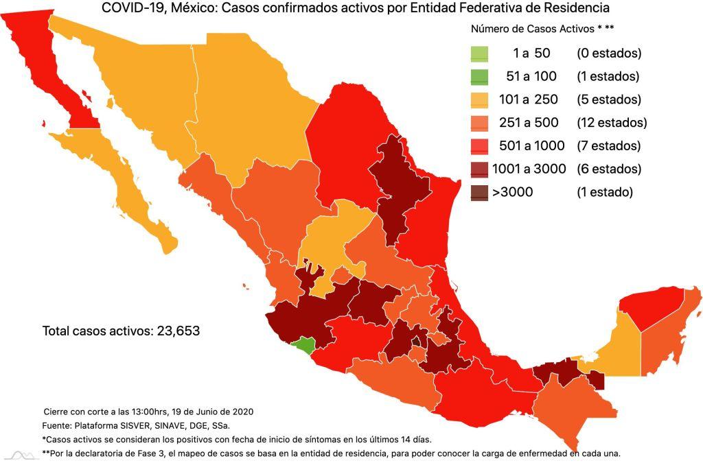 COVID19 en México 19 de junio 2020, casos defunciones, activos y tasa de incidencia nacional y por estado 5
