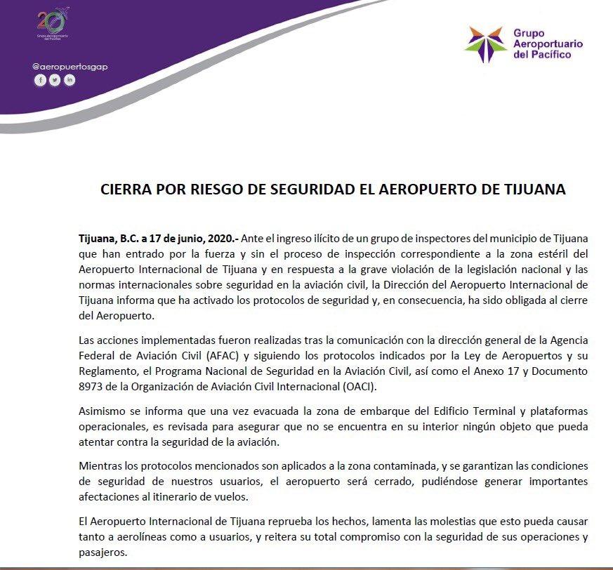 Funcionarios municipales cierran temporalmente el aeropuerto de Tijuana, denuncian ilegalidad 1