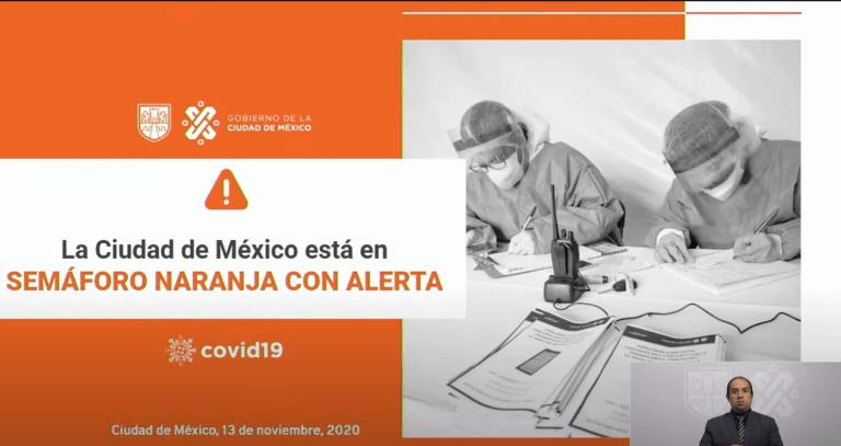 CDMX se mantiene en semáforo naranja con alerta la semana del 16 al 22 de noviembre 1