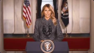 """Melania Trump se despide de la Casa Blanca y llama a:  """"Escoger el amor sobre el odio, la paz sobre la violencia"""" 7"""