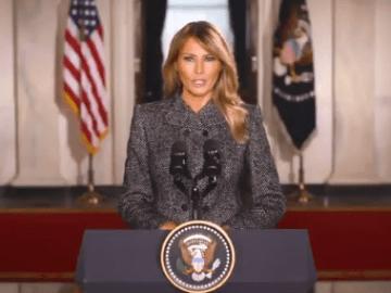"""Melania Trump se despide de la Casa Blanca y llama a:  """"Escoger el amor sobre el odio, la paz sobre la violencia"""" 10"""