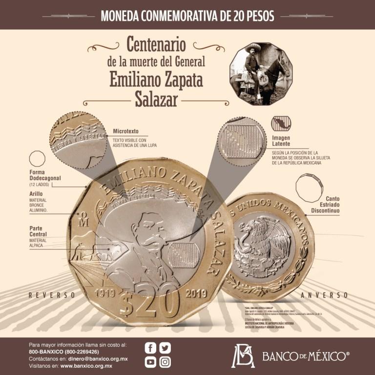 Nueva moneda de 20 pesos, conmemorativa del centenario de la muerte del general Emiliano Zapata Salazar 1