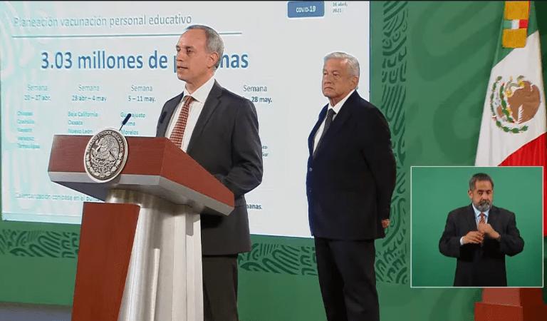 Personal educativo de Chiapas, Coahuila, Nayarit, Veracruz y Tamaulipas, serán los primeros en recibir vacunación contra Covid-19