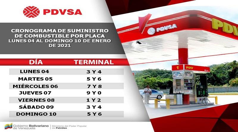 Este es el cronograma de suministro de combustible por placa para la semana del 04 al 10Ene