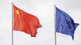 Banderas chinas y de la UE