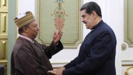 El Presidente Nicolás Maduro Moros dio la bienvenida en el Palacio de Miraflores, al Secretario General de la Organización de Países Exportadores de Petróleo (OPEP), Mohammad Barkindo.