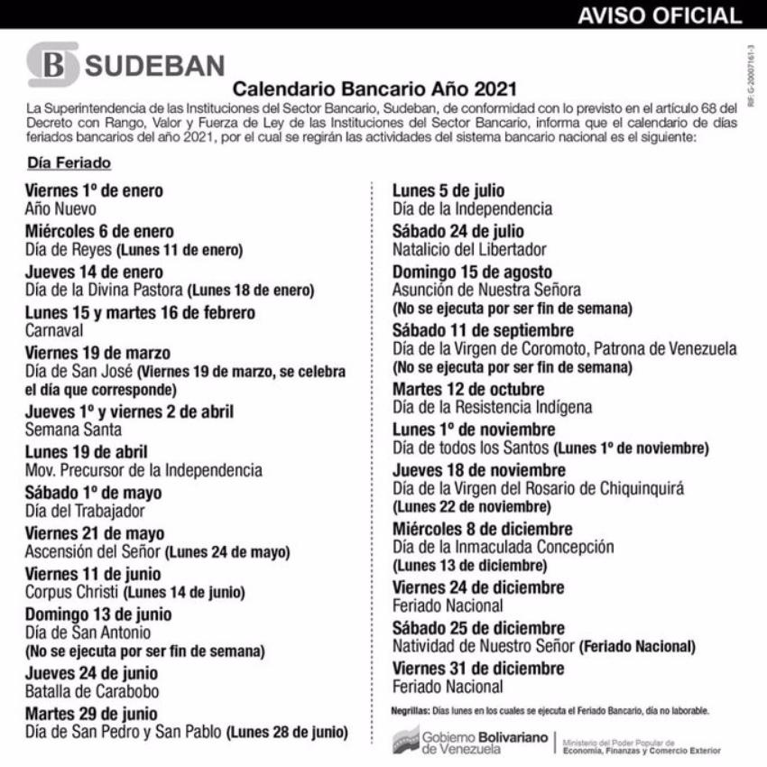 Calendario bancario venezolano
