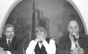 """De izquierda a derecha: Felipe Sola, Hugo Moyano y el """"Momo"""" Venegas"""""""