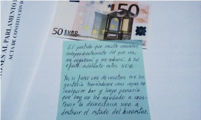 El billete y la carta